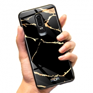 Mofi Glass Back Cover Oneplus 6T Black Marbled Effect
