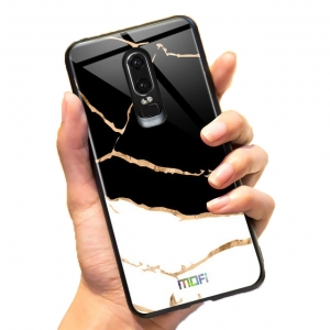 Mofi Glass Back Cover Oneplus 6T White Marbled Effect