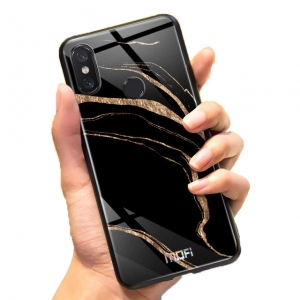 Mofi Glass Back Cover Xiaomi Mi8 Lite Golden Black